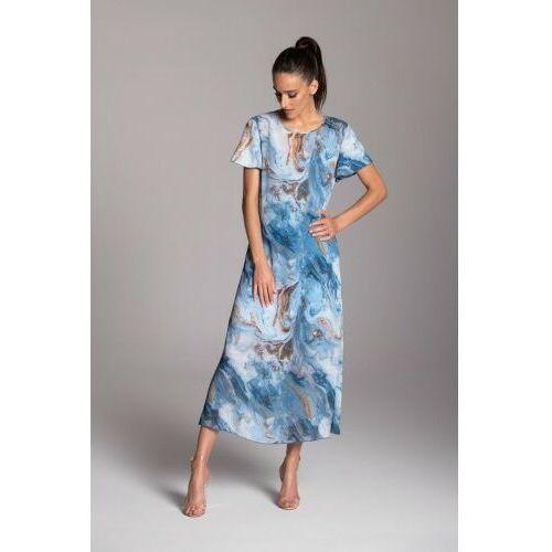 Długa letnia sukienka trapezowa z szyfonu w kolorze niebieskim z krótkim rękawem typu motylek - KOLEKCJA NIEBIESKIE MORZE, F264-38936