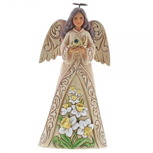 Anioł Grudzień patron urodzonych w grudniu Monthly Angel Figurine December Angel 6001573 Jim Shore, pamiątka narodzin, chrztu figurka dewocjonalia