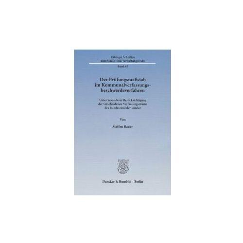 Der Prüfungsmaßstab im Kommunalverfassungsbeschwerdeverfahren (9783428140404)