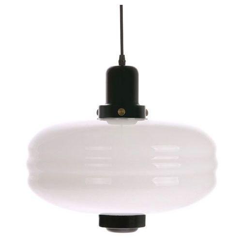 Hk living lampa wisząca rozmiar l białe szkło/ czarne akcenty vol5037