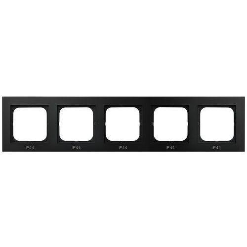 Ospel Ramka pięciokrotna sonata rh-5r/33 do łączników ip44 czarny metalik (5907577446932)