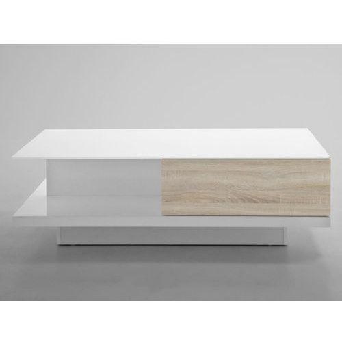 Stolik Kawowy Cliff biały z drewnianą szufladą 120x60cm  0000049303, Actona z sfmeble.pl