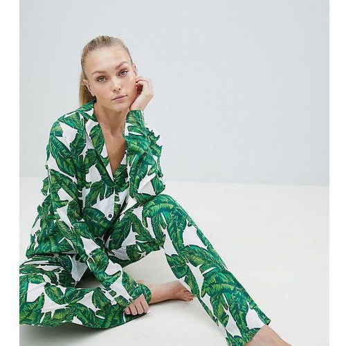 Asos tall Asos design tall banana leaf 100% modal traditional shirt & trouser pyjama set - multi