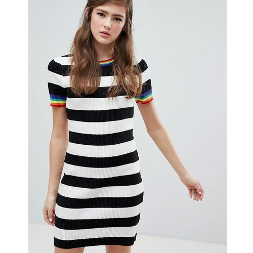 ASOS DESIGN stripe mini dress with rainbow contrast tipping - Multi