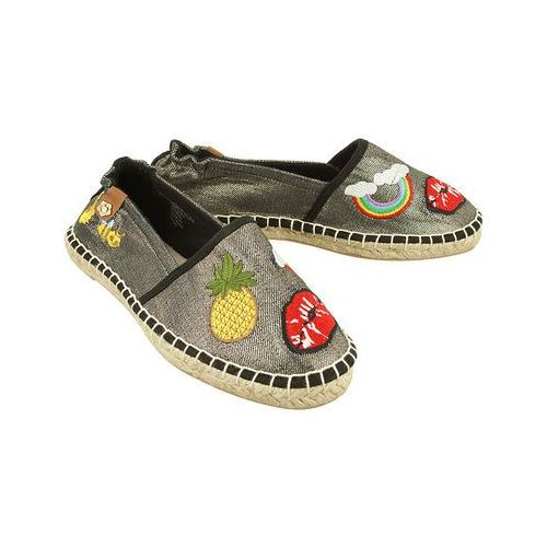 24605-20 013 black metallic patch, baleriny espadryle damskie - czarny marki Tamaris