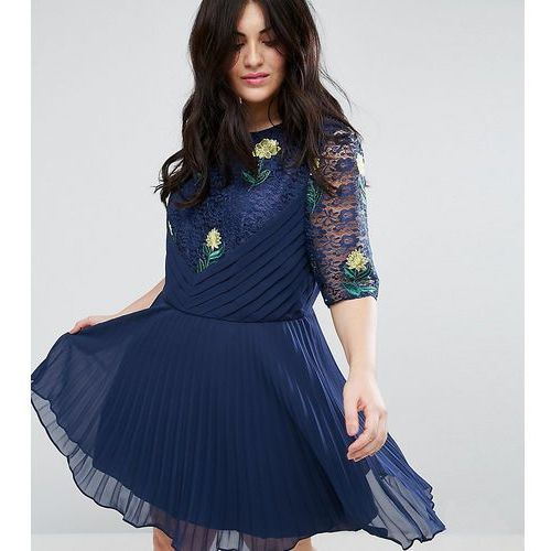 ASOS CURVE Embroidered Mini Pleat and Lace Dress - Navy, kolor niebieski