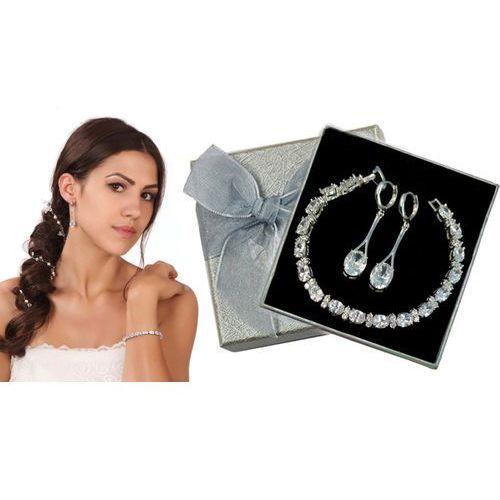 Kpl861 komplet ślubny, biżuteria ślubna z cyrkoniami k599/86 b599/493 marki Mak-biżuteria