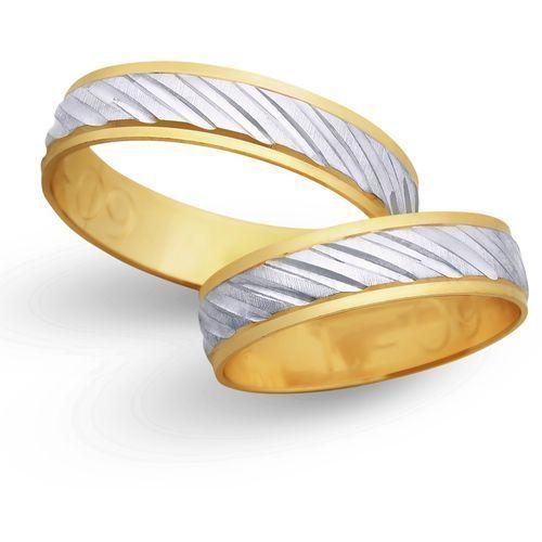Obrączki ślubne z żółtego i białego złota 5mm - O2K/006