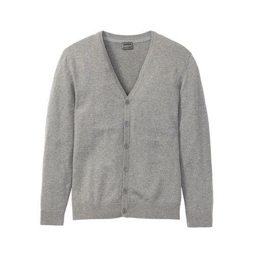 Sweter rozpinany bonprix szary melanż, kolor szary
