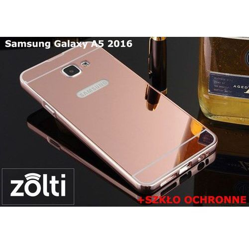 Zestaw | Mirror Bumper Metal Case Różowy + Szkło ochronne Perfect Glass | Etui dla Samsung Galaxy A5 2016, kolor różowy
