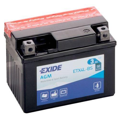Akumulator motocyklowy etx4l-bs / ytx4l-bs 12v 3ah 50a p+ marki Exide