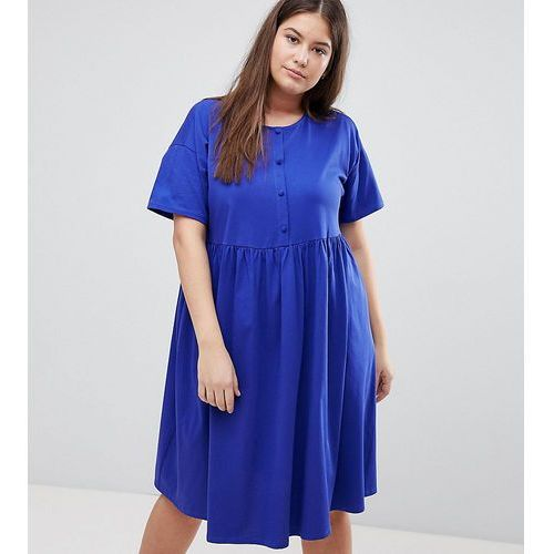 Asos design curve button front short sleeve midi smock dress - green marki Asos curve
