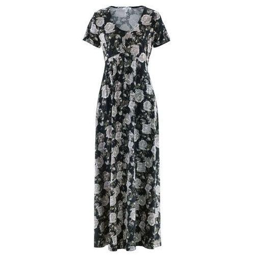 Długa sukienka z krótkim rękawem bonprix czarny w kwiaty