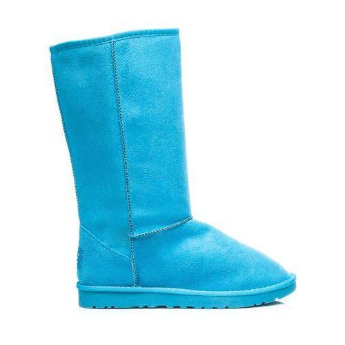 Niebieskie wysokie kobiece ciepłe śniegowce - odcienie niebieskiego