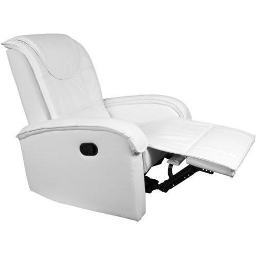 Biały fotel wypoczynkowy relaksacyjny + podnóżek - biały marki Stilista ®