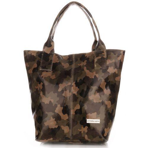 Torebki Skórzane Vittoria Gotti Shopper bag Moro Zielona (kolory)