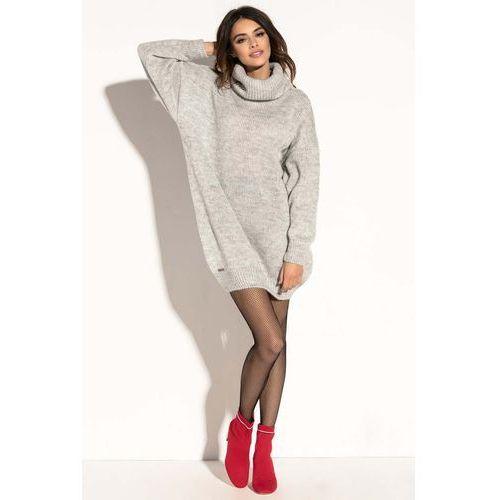 203d1b3bed Szara swetrowa ciepła sukienka z wysokim golfem.