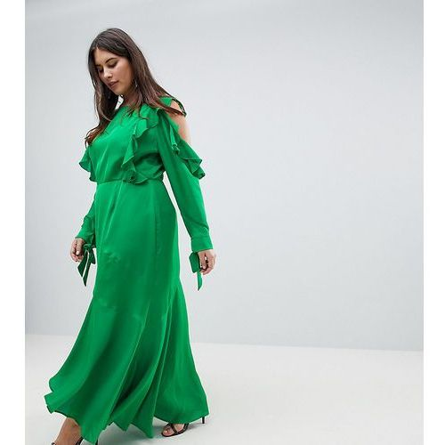 Asos design curve ruffle sleeve maxi dress with cold shoulder - green marki Asos curve