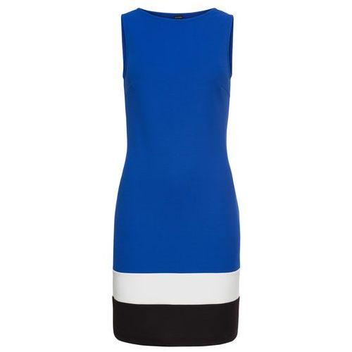 ea328a082b Sukienka z dżerseju z kontrastowymi paskami niebiesko-biel wełny - czarny  marki Bonprix 89