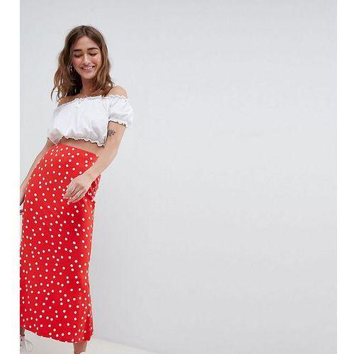 Asos petite Asos design petite midi skirt with kickflare in polka dot - red