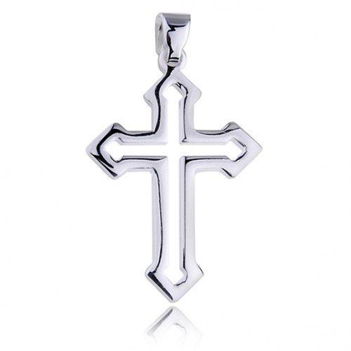 Krzyżyk srebrny z połyskiem, pr.925.