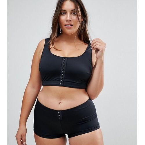 Asos curve mix and match crop bikini top with hook and eye - black