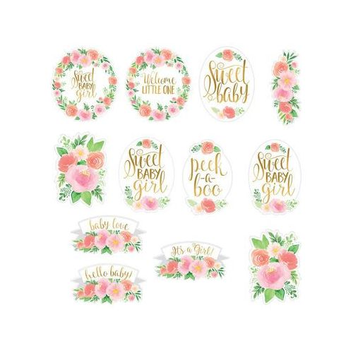 Zestaw dekoracji na ścianę sweet baby girl - 12 elem. marki Amscan