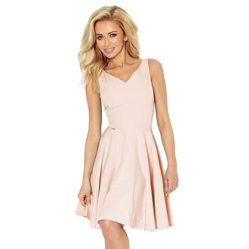 c6318c96b0 Jasnoróżowa sukienka elegancka rozkloszowana na szerokich ramiączkach marki  Numoco 159