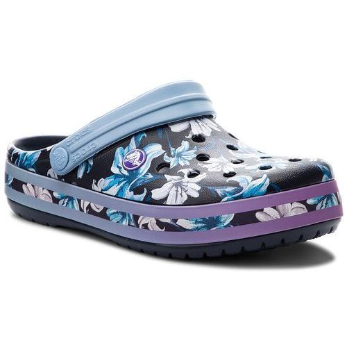 Crocs Klapki - crocband graphic iii clog 205330 tropical floral/navy