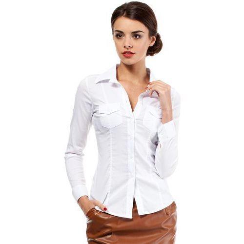 Biała Klasyczna Taliowana Koszula z Długim Rękawem