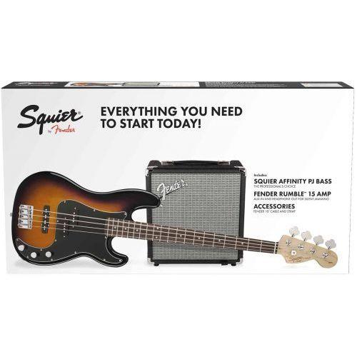 Fender squier affinity series precision bass pj pack laurel fingerboard bsb gig bag rumble 15 zestaw