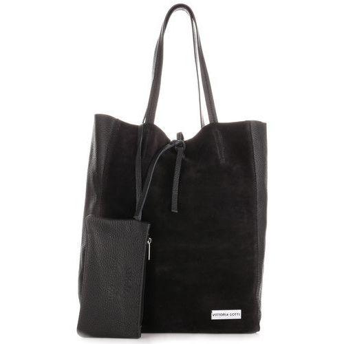 Vittoria gotti Włoskie torebki skórzane shopperbag z etui czarna (kolory)