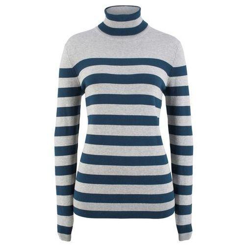 Sweter w serek bonprix ciemna oberżyna, kolor szary