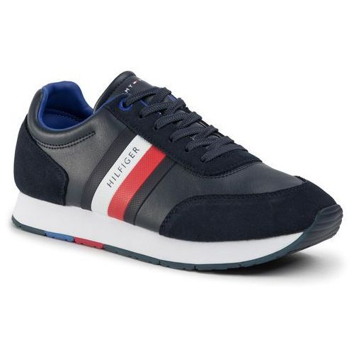 Tommy hilfiger Sneakersy - corporate leather flag runner fm0fm02602 desert sky dw5