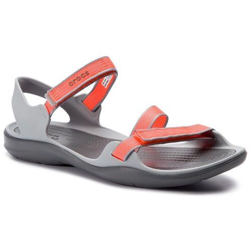 Crocs Sandały - swiftwater webbing sandal w 204804 bright coral/light grey