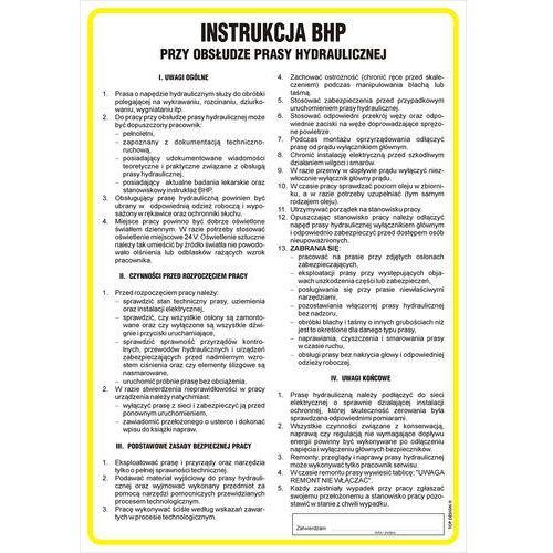 Instrukcja bhp przy obsłudze prasy hydraulicznej marki Top design