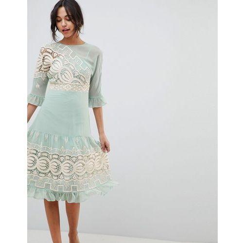ASOS DESIGN Premium Crochet Insert Midi Dress - Green, kolor zielony