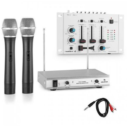 Zestaw mikrofonów bezprzewodowych z 3-kanałowym mikserem biały