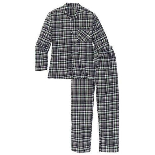 Piżama flanelowa bonprix szary w kratę, w 4 rozmiarach