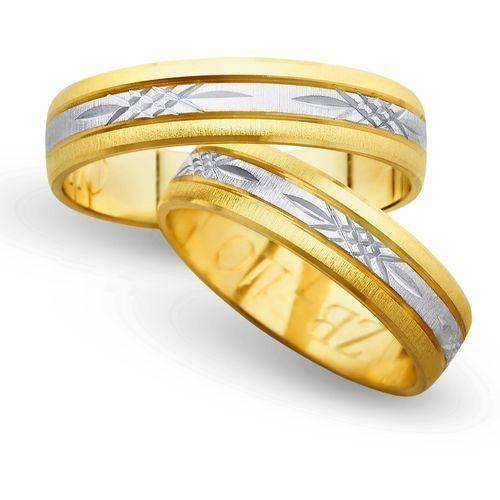 Obrączki z żółtego i białego złota 5mm - O2K/022 - produkt dostępny w Świat Złota