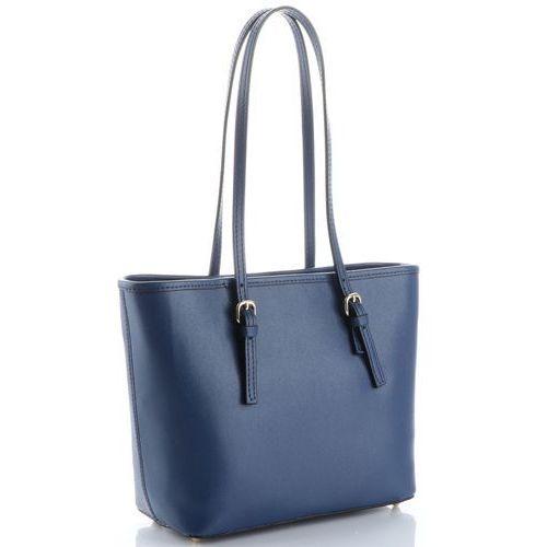 2e6e67387b8cb Klasyczne torebki skórzane na każdą okazję firmy długie rączki granatowe  (kolory) marki Genuine leather 255