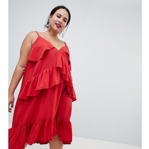 Asos design curve strappy midi dress with ruffle detail - red, Asos curve