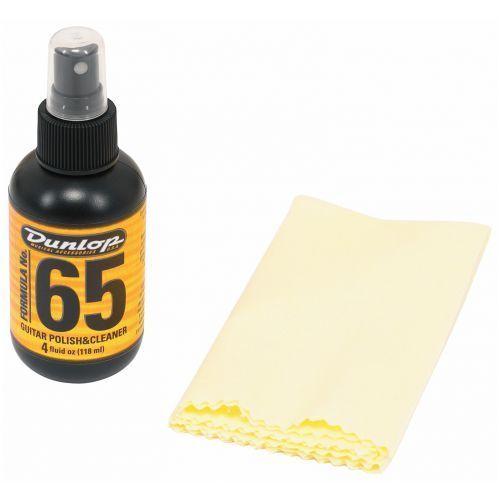 Dunlop 654csi formula 65 guitar polish & cleaner + polish cloth zestaw czyścików do gitary + szmatka, 4 oz. / 118 ml