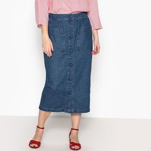 Długa dżinsowa rozszerzana spódnica