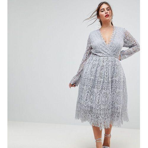 ASOS CURVE Long Sleeve Lace Midi Prom Dress - Grey, kolor szary