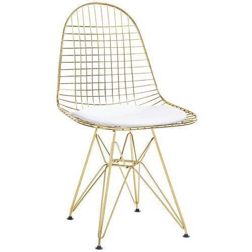 Krzesło metalowe DSR NET GOLD złote - biała poduszka, metal, MC-021M.GOLD (10713398)