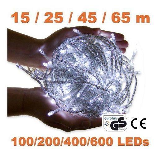 Białe lampki choinkowe na dom ogród 100 diod led - 100 led / 15 metrów marki Voltronic ®