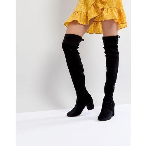 New look velvet over the knee block heeled boot with tie back - black