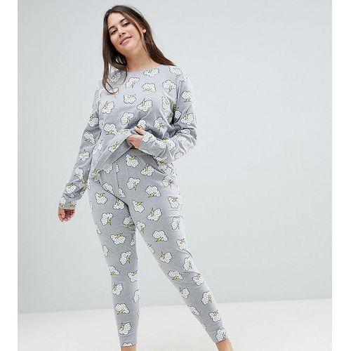 Asos design curve lightning long sleeve tee & legging pyjama set - grey marki Asos curve