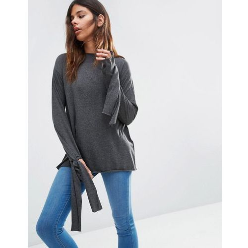 Asos top in longline with long sleeve and tie cuff detil - grey